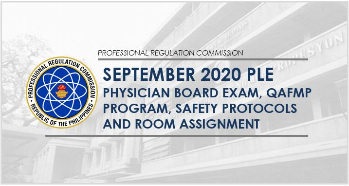September 2020 PLE, QAFMP: program, room assignment, safety protocols