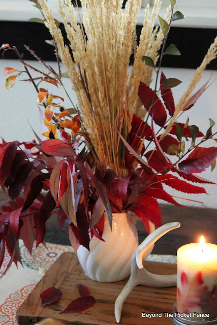 fall decor, autumn, fall centerpiece, fall leaves, ironstone pitcher, antler, candle, http://bec4-beyondthepicketfence.blogspot.com/2015/09/ushering-in-autumn-bit-by-bit.html