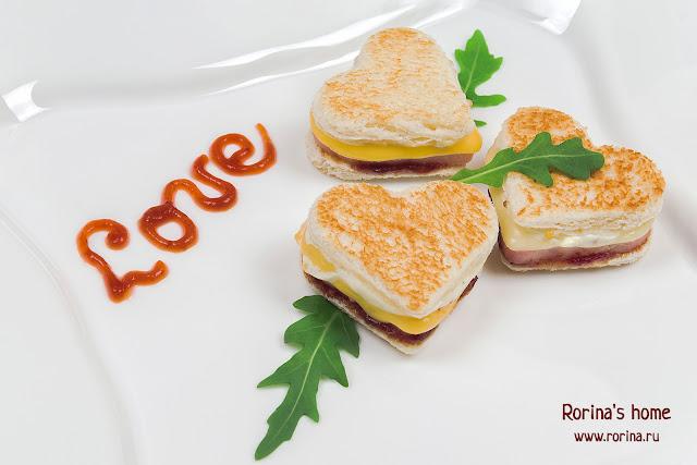 Горячий бутерброд-сердце, приготовленный с любовью: пошаговый рецепт