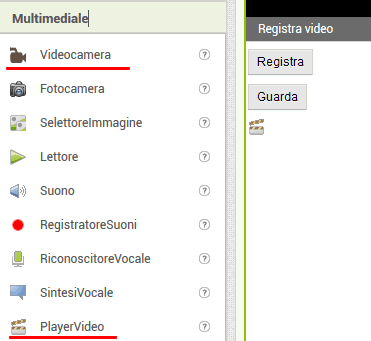 Fare e riprodurre video (Mit App Inventor 2)