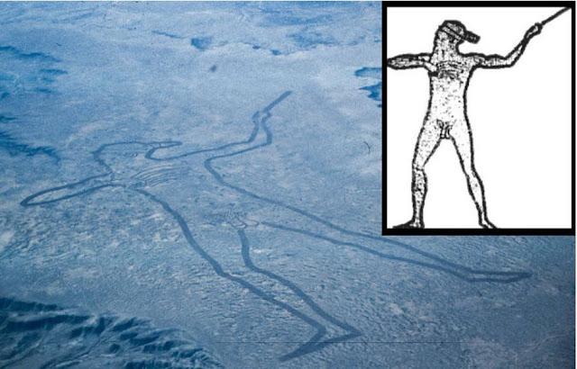 Una vista aerea di Marree Man e un profilo illustrato da Lisa Thurston.