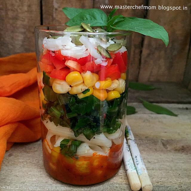 Spinach Corn Pasta Salad  | Pasta Salad with Tomato Garlic Dressing( Pasta Salad In A Jar)