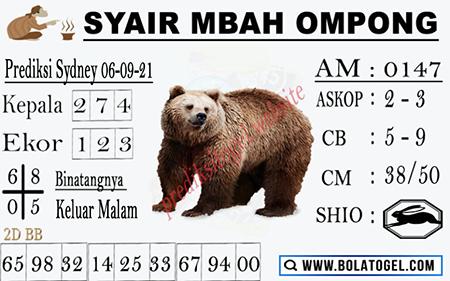 Syair Mbah Ompong Sydney Senin 06-Sep-2021