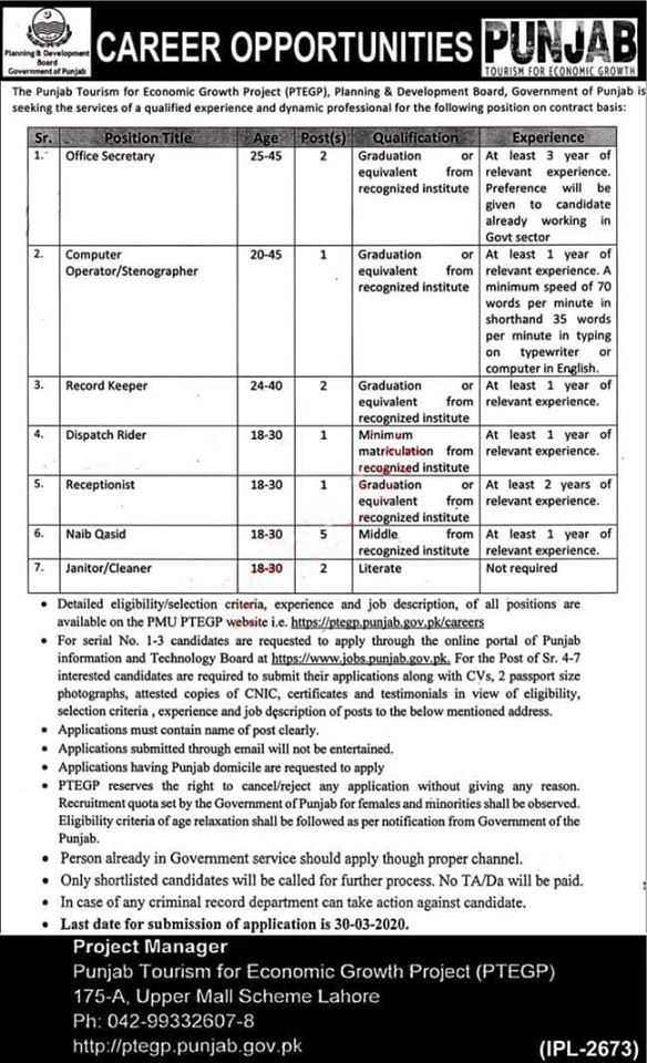 Career Opportunities The Punjab Tourism for Economic Growth Project Lahore