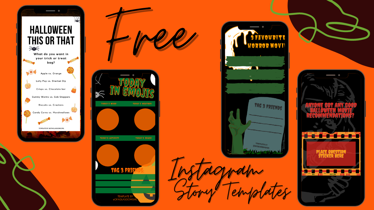 graphic shows 4 or the 5 free Halloween themed Instagram story templates available