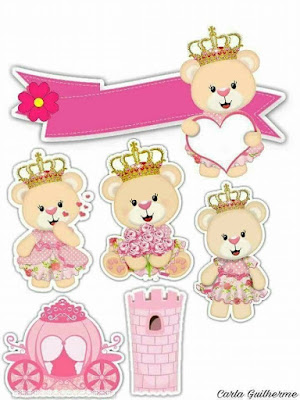 Teddy Bear Princess Free Printable Cake Toppers.