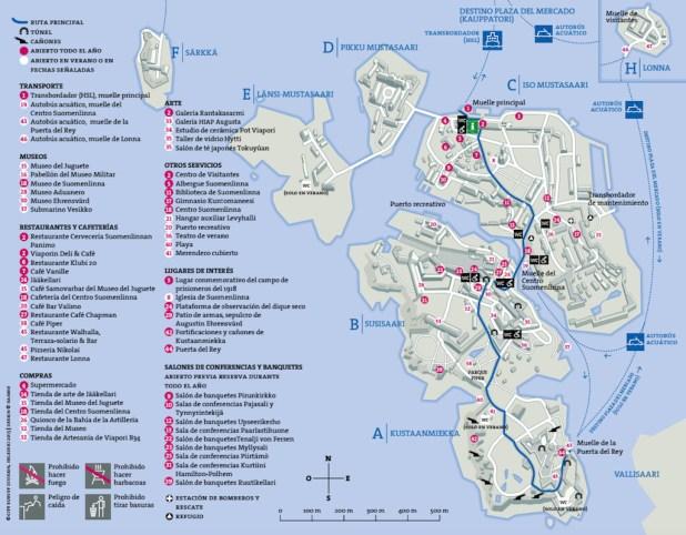 Helsinki, Finlandia - Mapa de la Isla Suomenlinna