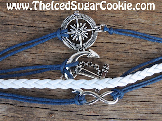 Blue and White Compass Ship Anchor Infinity Leather Bracelet by The Iced Sugar Cookie