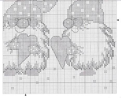 schema punto croce runner coi gnomi dal cappello a punta