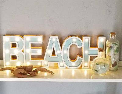 Coastal Beach Marquee Light Signs