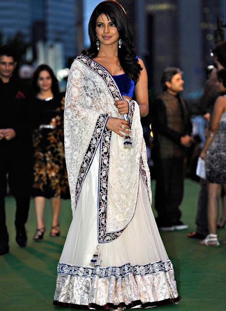 Designer Blue Royal Lehenga Saree Of Priyanka Chopra