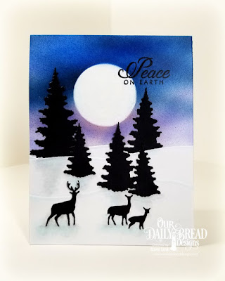 Our Daily Bread Designs Stamp Set: Winter Chickadee, Custom Dies:  Trees and Deer, Curvy Slopes, Circles