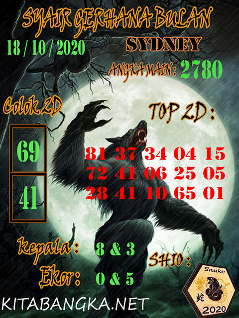 Kode syair Sydney Minggu 18 Oktober 2020 204