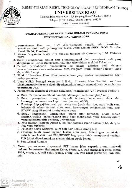 Info Buat Mahasiswa UNRI Angkatan 2019, Pengumpulan Berkas Revisi UKT Deadline 31 Oktober 2019