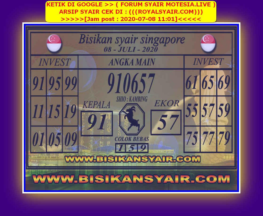 Kode syair Singapore Rabu 8 Juli 2020 88