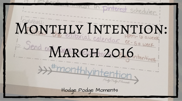 Monthly Intention: March 2016