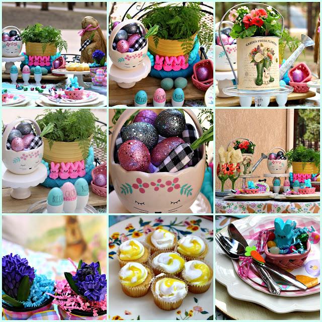 hyacinths, dessert, jellybeans, Easter, basket, bunnies, athomewithjemma.com