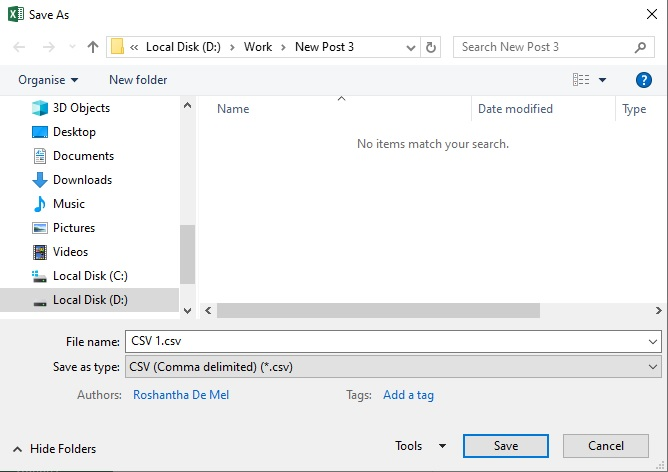 Select CSV file type from the Save as dialog box
