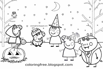 Cute easy ideas tricks or treat coloring Peppa pig Halloween pictures to draw for preschool children