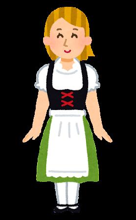 ディアンドルを着たドイツ人女性のイラスト