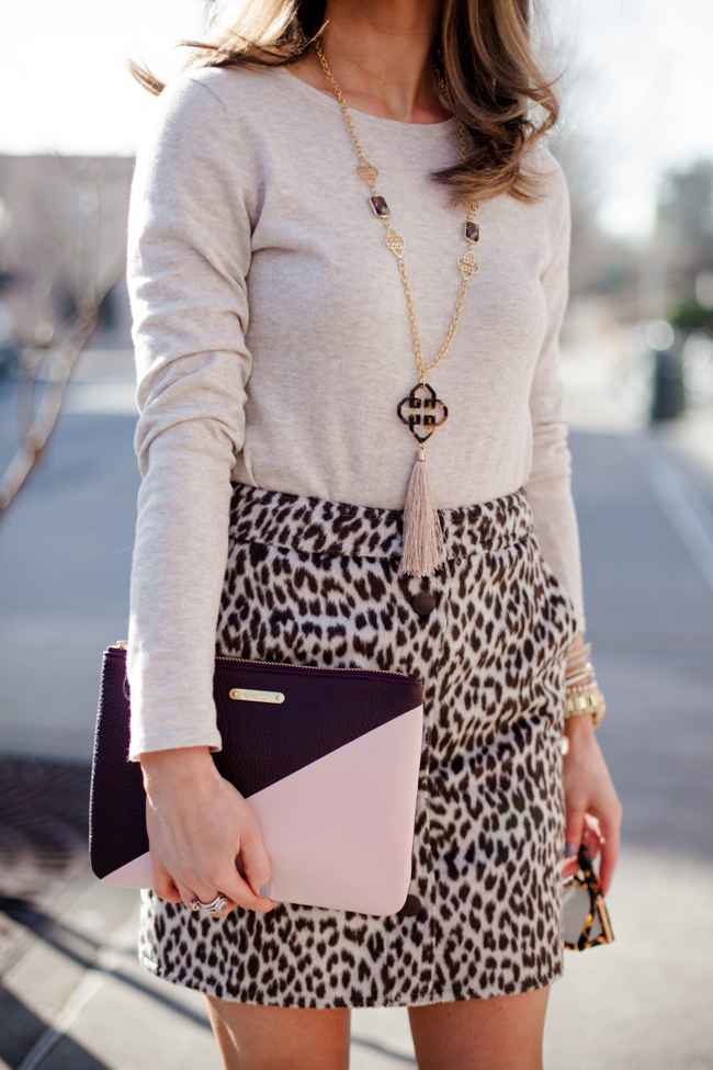 tyler boe leopard skirt