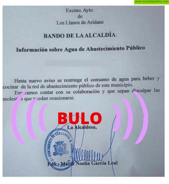El Ayuntamiento de Los Llanos de Aridane desmiente que exista problema alguno para el consumo de agua