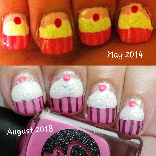 nail art, cupcake nail art, hand painted, indie polish