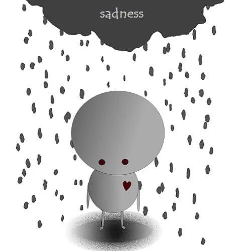 rain of sadness falling on boy