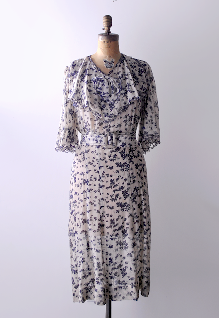 30's Silk Chiffon Dress