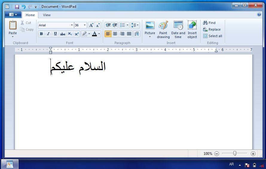 Install arabic to windows