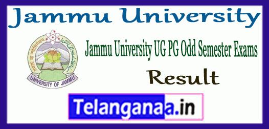 Jammu University UG PG 1st 3rd 5th 7th Semester Result