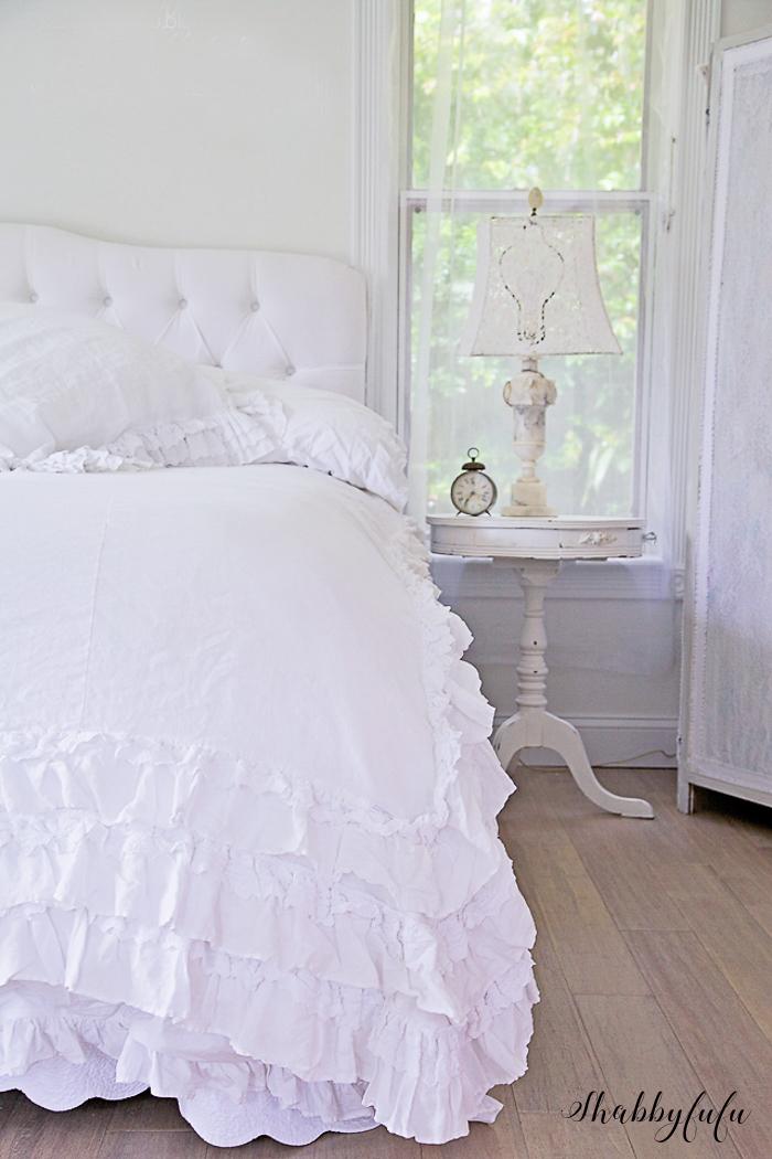 white duvet with ruffles