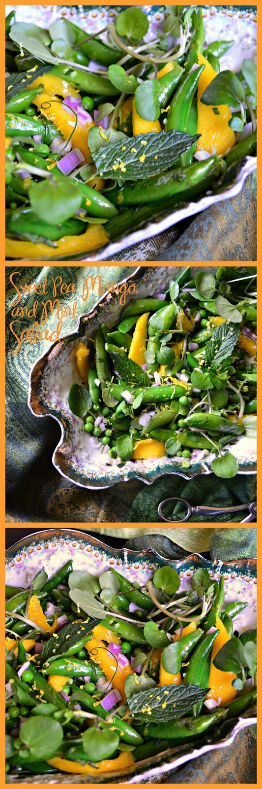 This sweet pea, mango and mint salad screams spring! Topped with a maple lemon vinaigrette this is not only pretty it is delicious! #salad #mango#peas www.thisishowicook.com