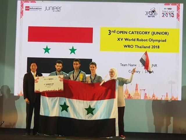 سورية في المركز الثالث على مستوى العالم في مسابقة الروبوت و400فريقا مشاركا من 70دولة