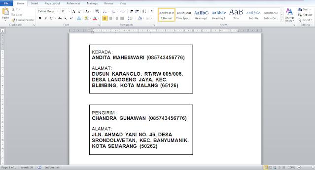 Contoh penulisan keterangan pengirim dan penerima paket JNE POS