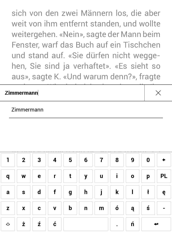 Widok edycji słowa wybranego do tłumaczenia - PocketBook TouchHD2