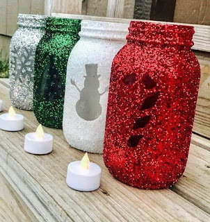 Decoração de Natal sem gastar muito: potes decorados/luminárias no pote
