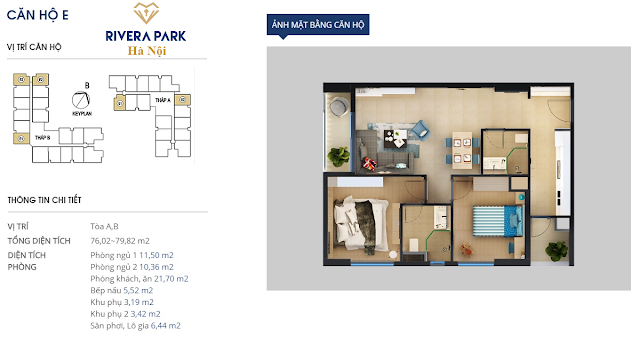 Chi tiết căn hộ E chung cư Rivera Park