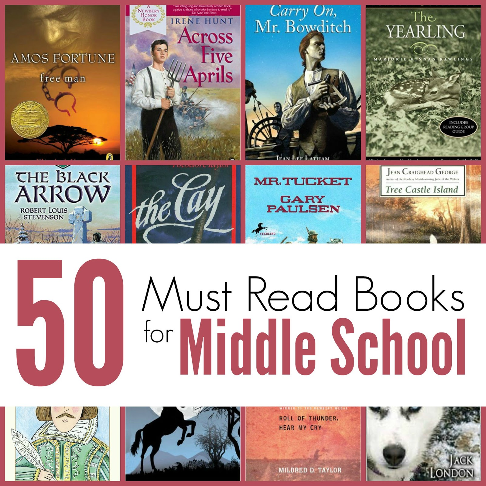 The Unlikely Homeschool 50 Must Read Books For Middle School