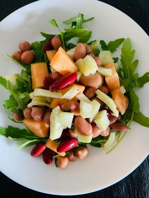Bohnen-Salat mit Honigmelone und Fenchel, Rucola, Rezept, glutenfrei, vegan, leicht, einfach, Melone, Proteine, pflanzlich