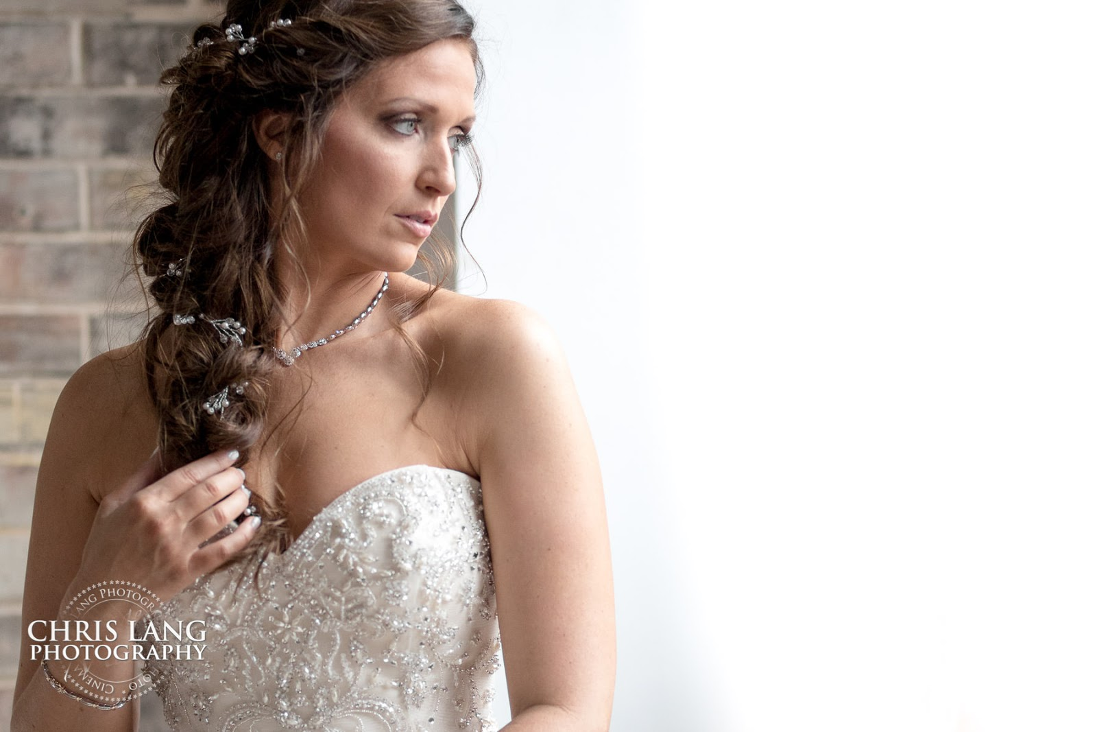 Image of bride - wedding - dress - jewelry - wedding ideas - wilmington nc wedding photographers -