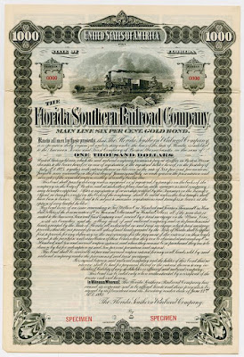Florida and Southern Railroad Main line bond from 1892