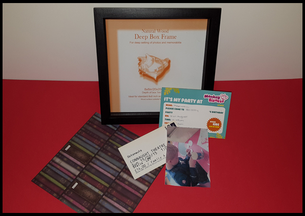 Using a box frame for a memory keepsake box