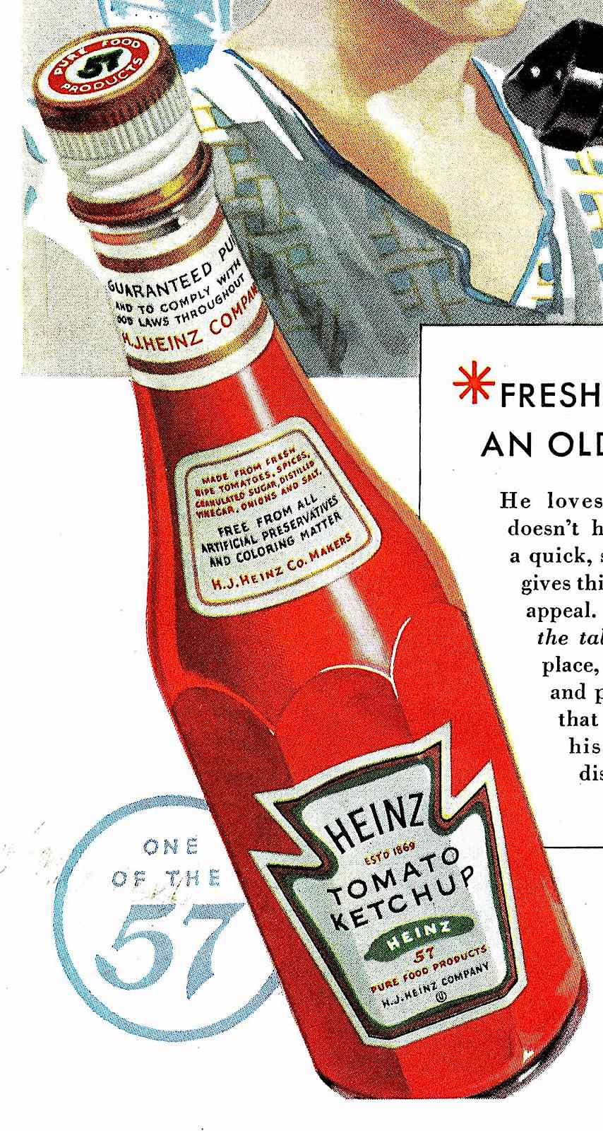 Heinz Ketchup in a bottle 1934 in a color illustration