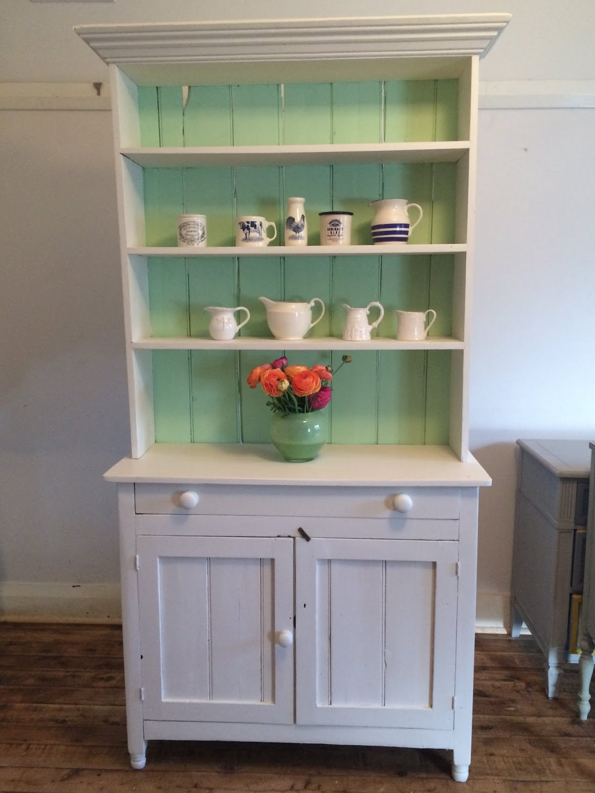 Vintage Kitchen Hutch Mdf Cabinets Lilyfield Life Green And White