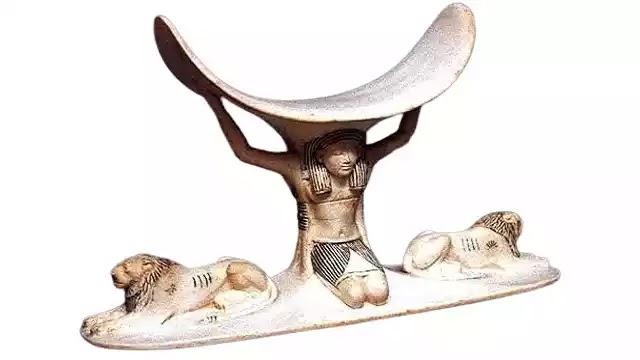 Tutankhamun Ivory headrest with god Shu