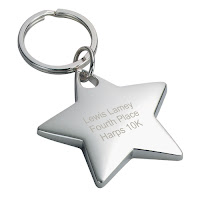 Engraved Silver Star Key Ring