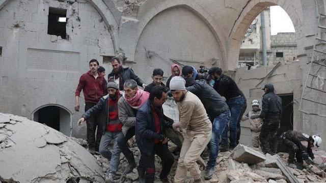 Biadab, Jet Tempur Rusia Membom Masjid di Aleppo Bunuh 58 Jamaah Sedang Shalat