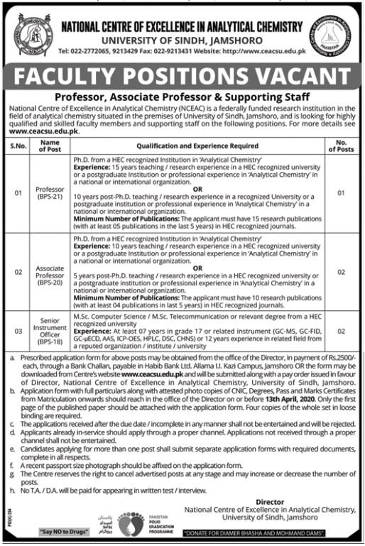 Latest University of Sindh Management Posts Jamshoro 2020