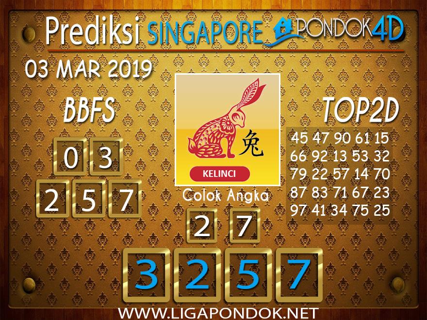Prediksi Togel SINGAPORE PONDOK4D 03 FEBRUARI 2019